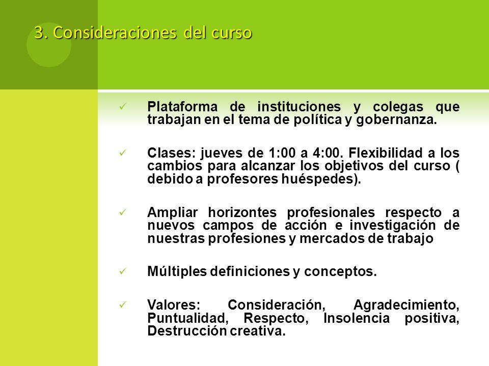 3. Consideraciones del curso