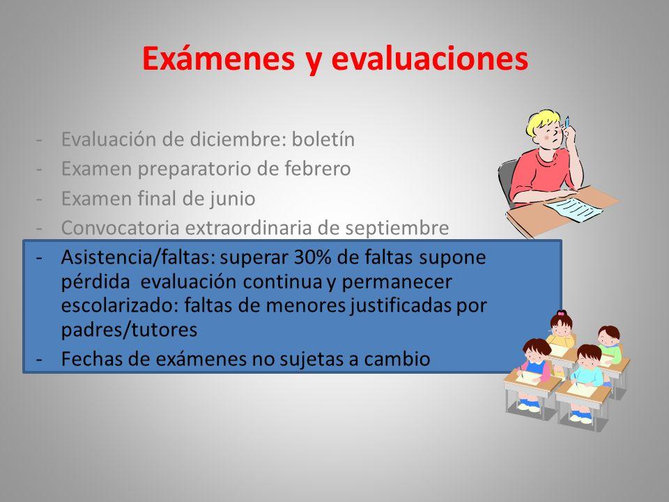 Exámenes y evaluaciones