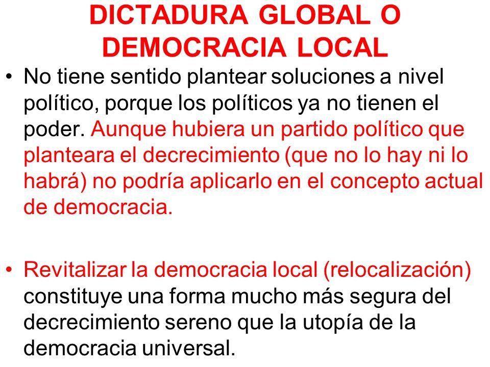 DICTADURA GLOBAL O DEMOCRACIA LOCAL