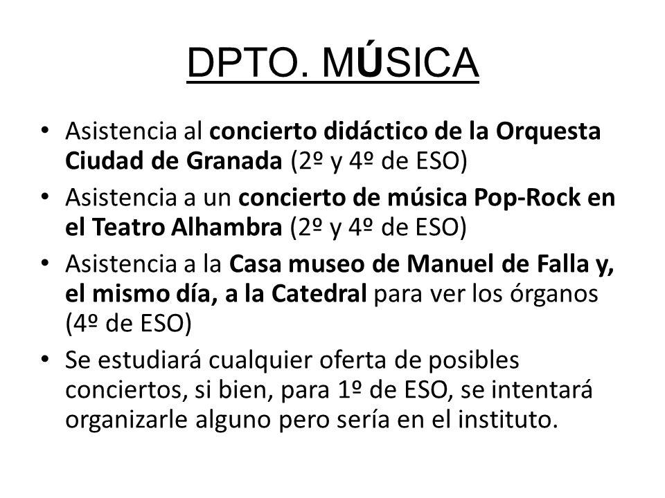 DPTO. MÚSICA Asistencia al concierto didáctico de la Orquesta Ciudad de Granada (2º y 4º de ESO)