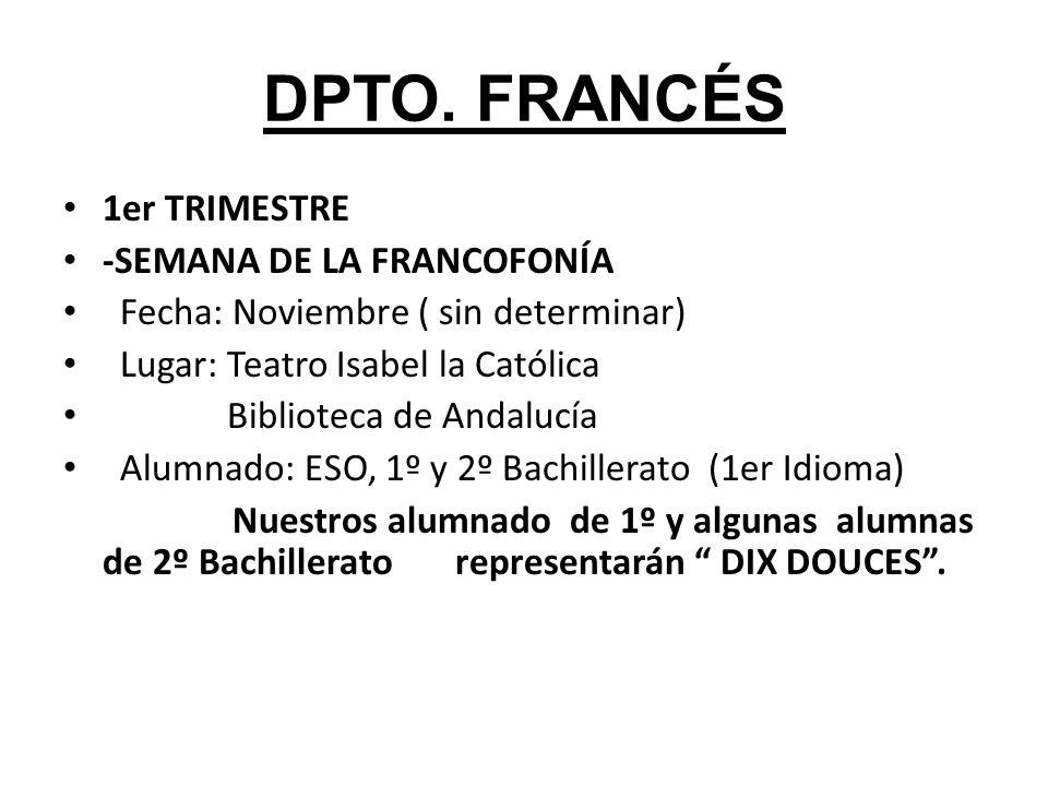 DPTO. FRANCÉS 1er TRIMESTRE -SEMANA DE LA FRANCOFONÍA