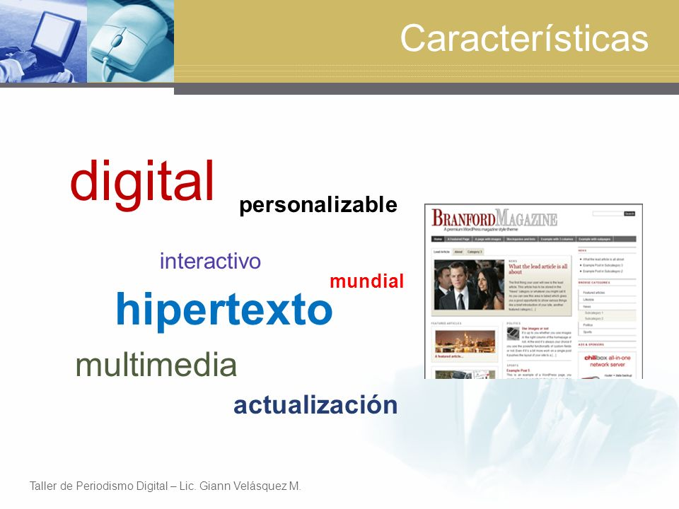 digital hipertexto Características multimedia actualización