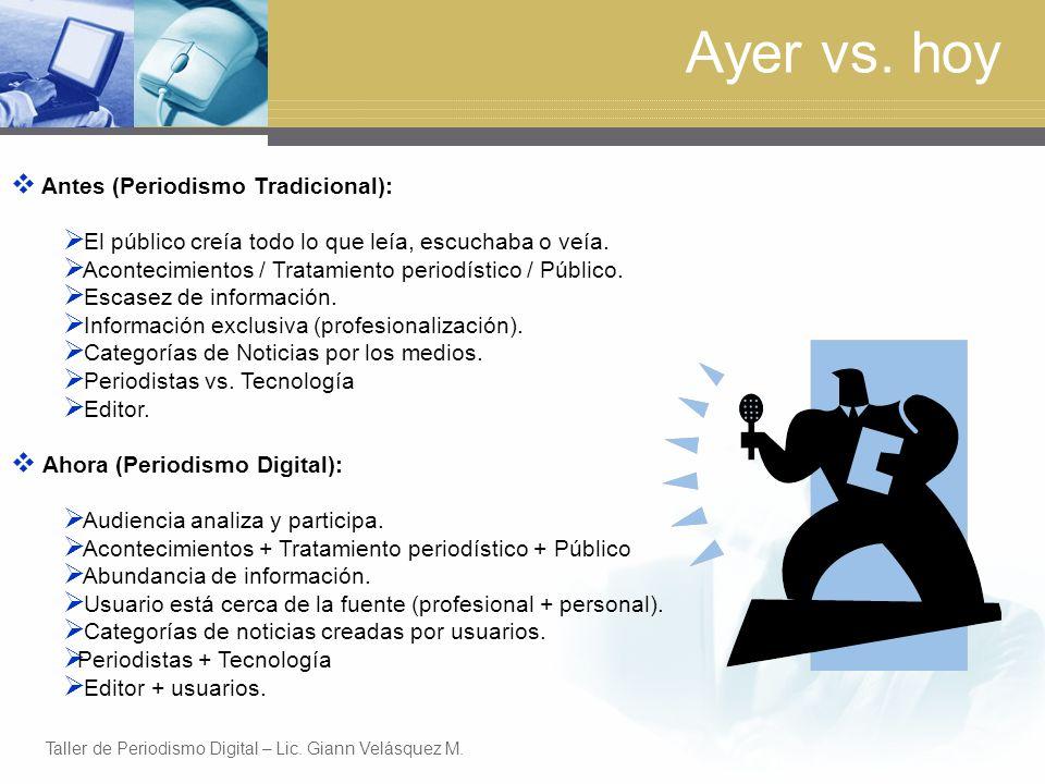 Ayer vs. hoy Antes (Periodismo Tradicional):