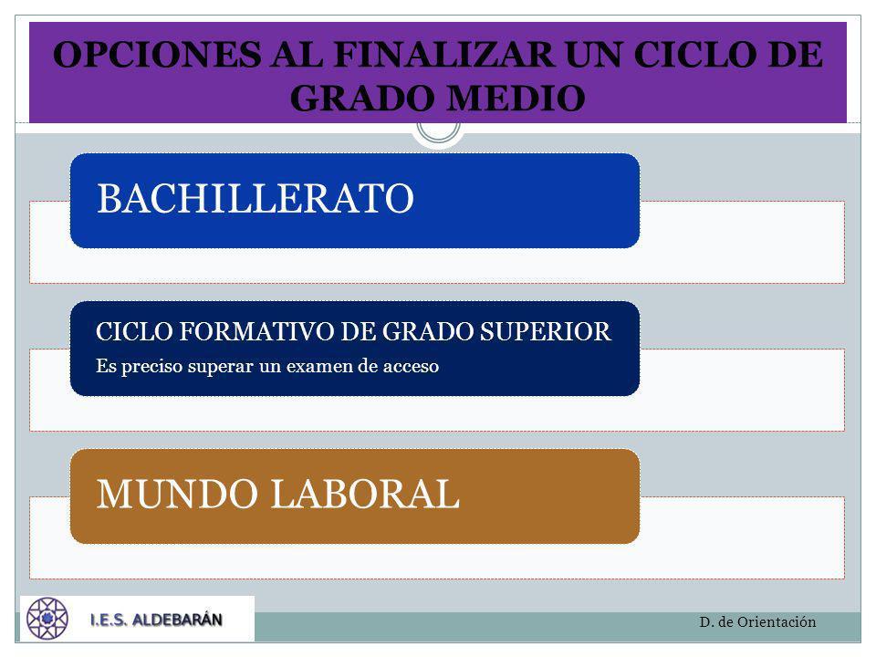 OPCIONES AL FINALIZAR UN CICLO DE GRADO MEDIO