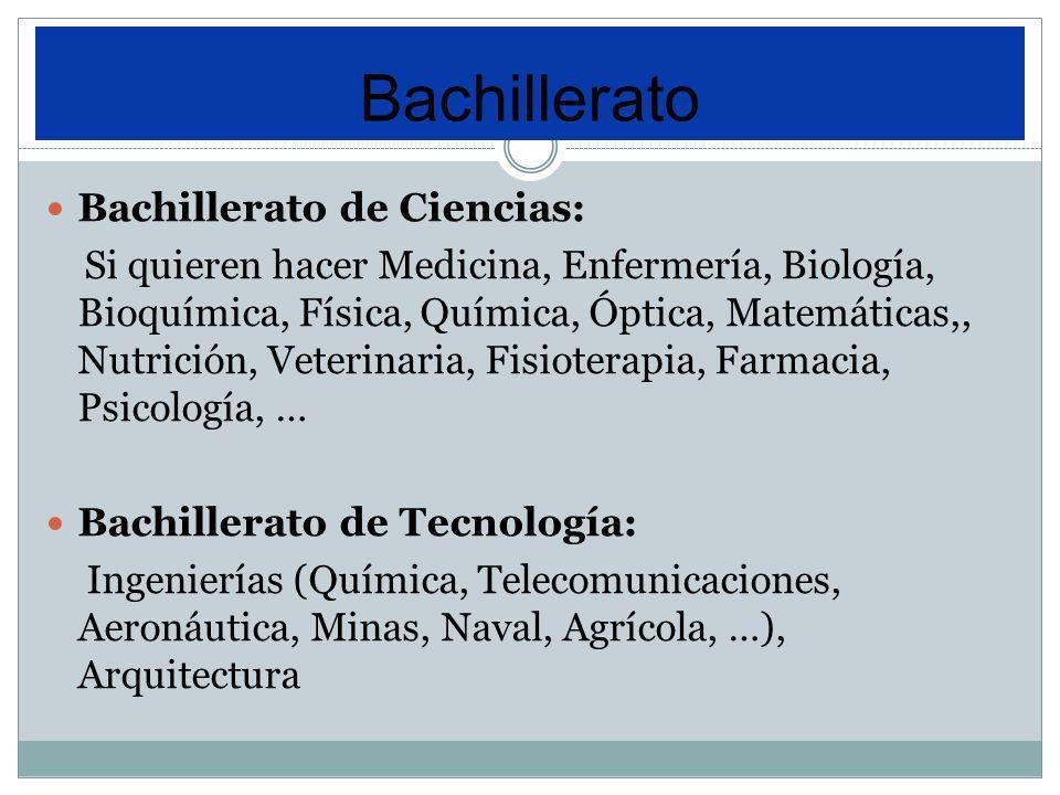 Bachillerato Bachillerato de Ciencias: