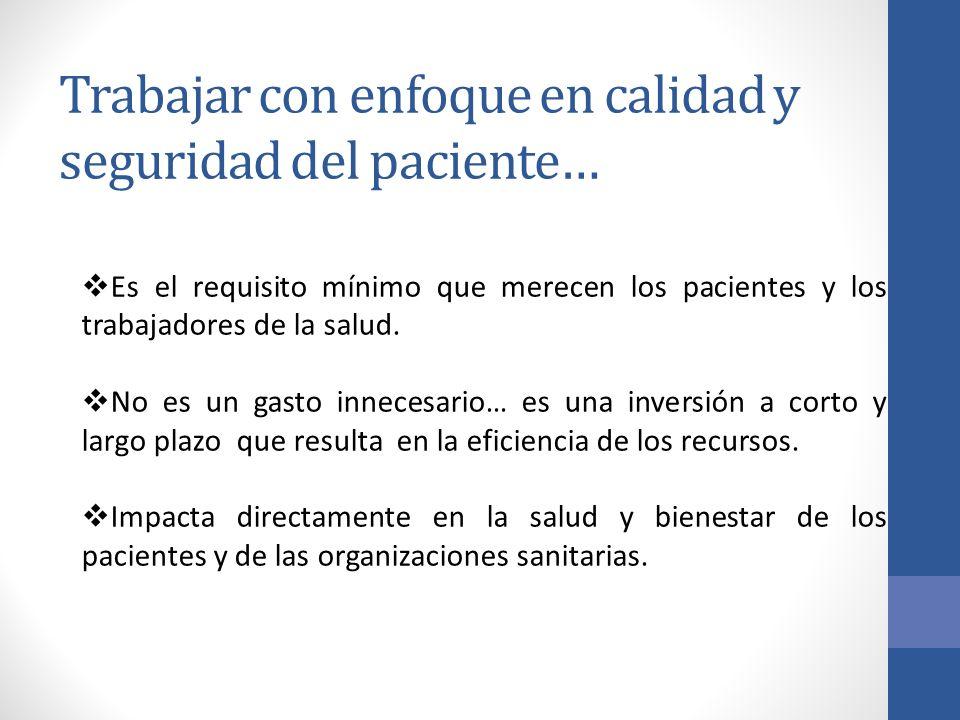 Trabajar con enfoque en calidad y seguridad del paciente…