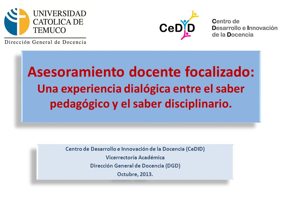 Asesoramiento docente focalizado: Una experiencia dialógica entre el saber pedagógico y el saber disciplinario.