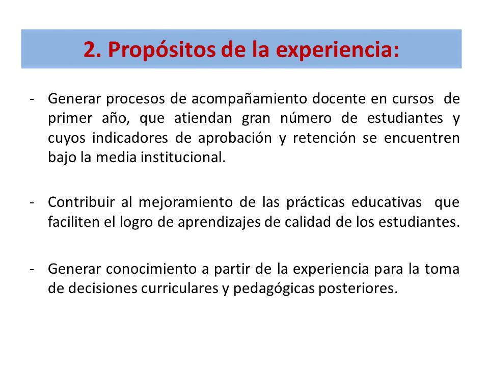 2. Propósitos de la experiencia: