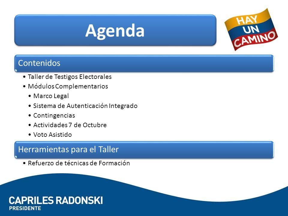 Agenda Contenidos Herramientas para el Taller