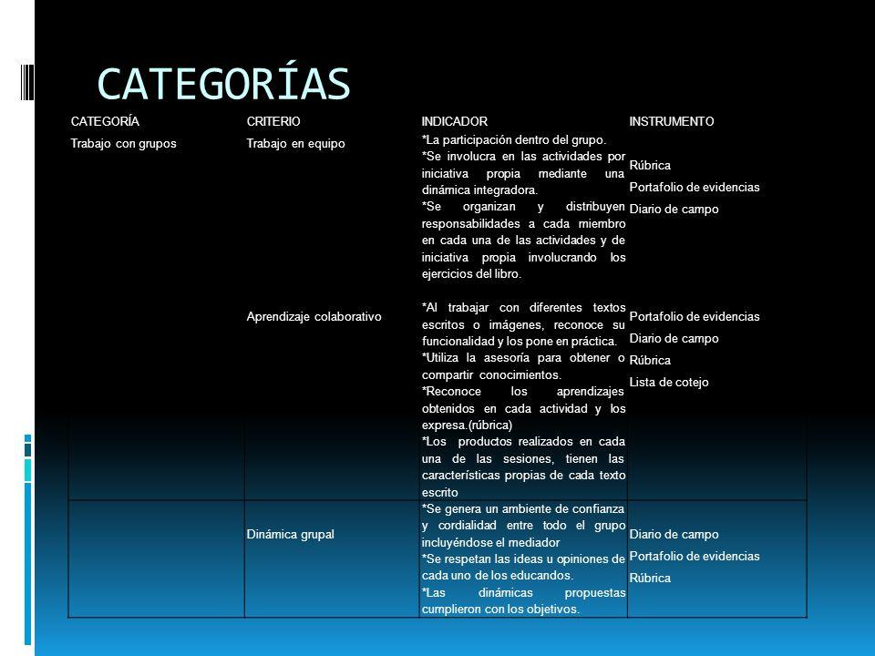 CATEGORÍAS CATEGORÍA CRITERIO INDICADOR INSTRUMENTO Trabajo con grupos