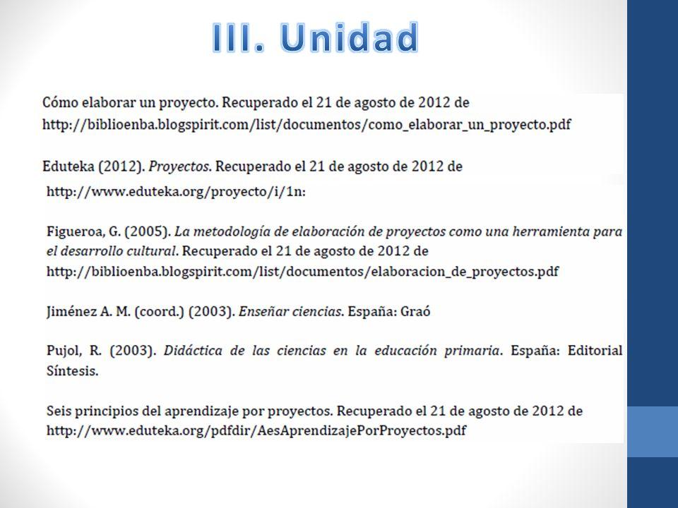 III. Unidad