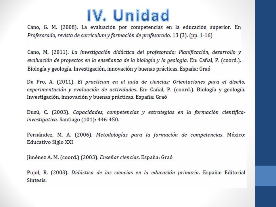 IV. Unidad