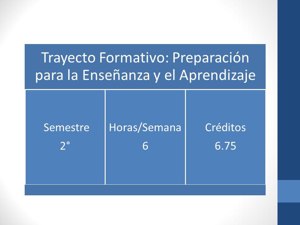 Trayecto Formativo: Preparación para la Enseñanza y el Aprendizaje
