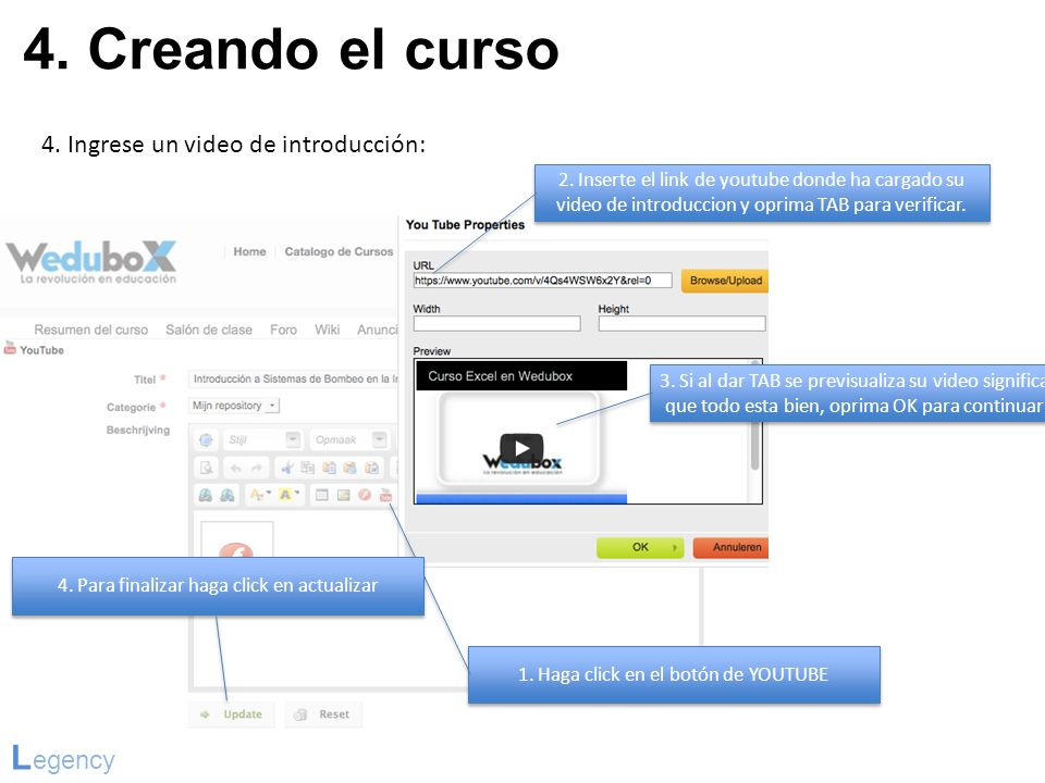 4. Creando el curso Legency 4. Ingrese un video de introducción: