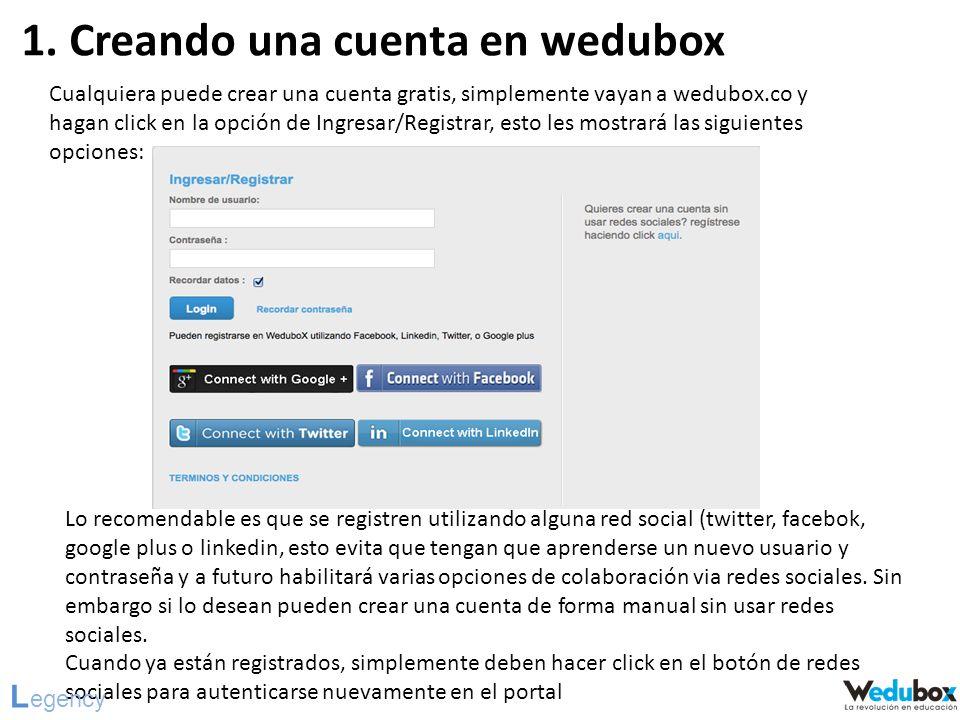 1. Creando una cuenta en wedubox