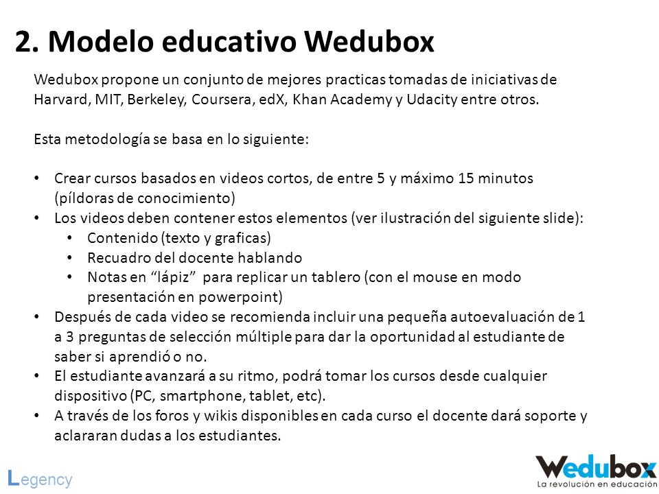 2. Modelo educativo Wedubox