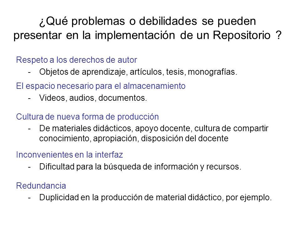 ¿Qué problemas o debilidades se pueden presentar en la implementación de un Repositorio