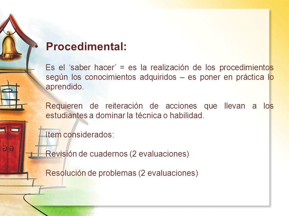 Procedimental: Es el 'saber hacer' = es la realización de los procedimientos según los conocimientos adquiridos – es poner en práctica lo aprendido.