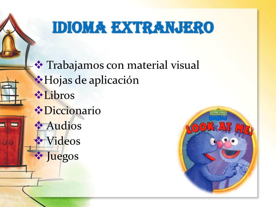 IDIOMA EXTRANJERO Trabajamos con material visual Hojas de aplicación