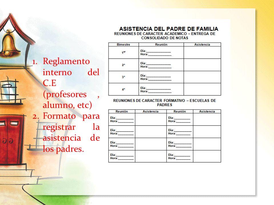 Reglamento interno del C.E (profesores , alumno, etc)