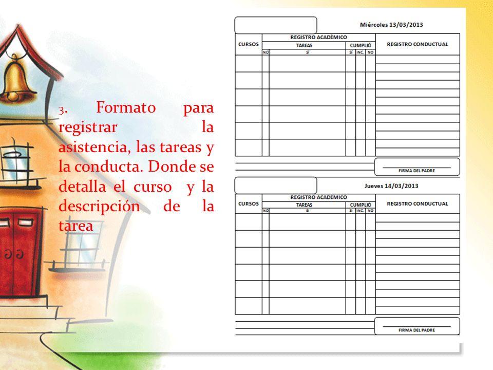 3. Formato para registrar la asistencia, las tareas y la conducta