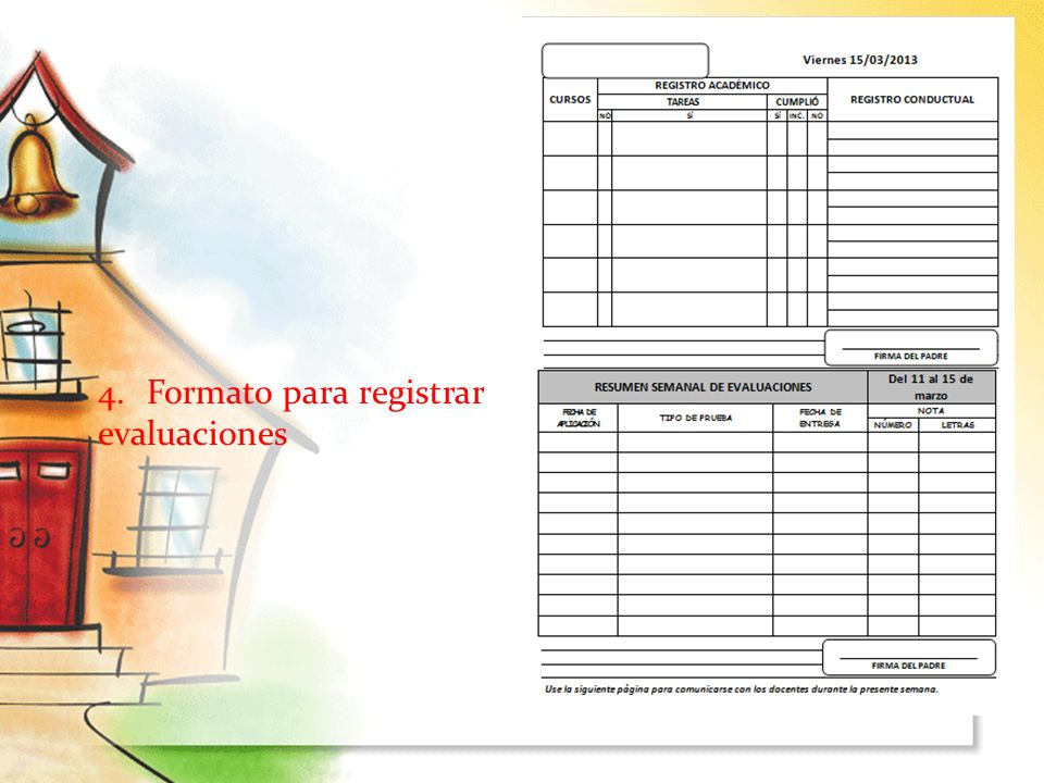 4. Formato para registrar evaluaciones