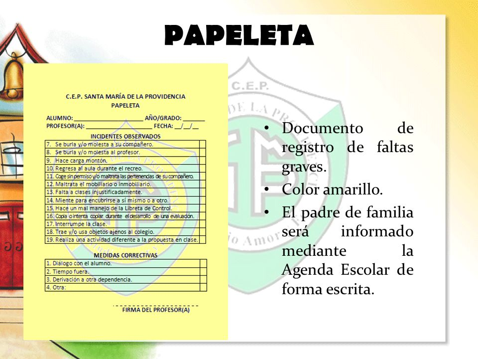 PAPELETA Documento de registro de faltas graves. Color amarillo.