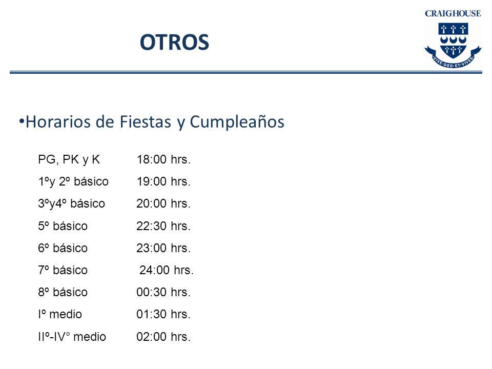 OTROS Horarios de Fiestas y Cumpleaños PG, PK y K 18:00 hrs.