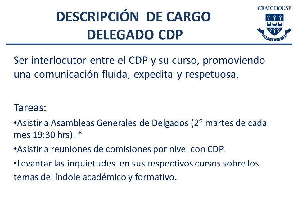 DESCRIPCIÓN DE CARGO DELEGADO CDP