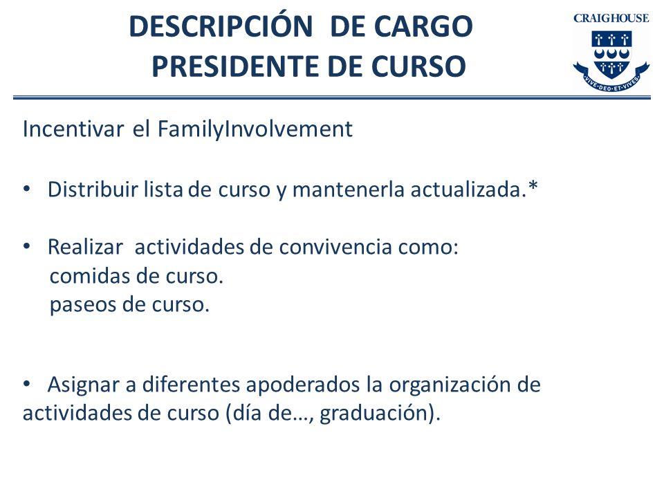 DESCRIPCIÓN DE CARGO PRESIDENTE DE CURSO