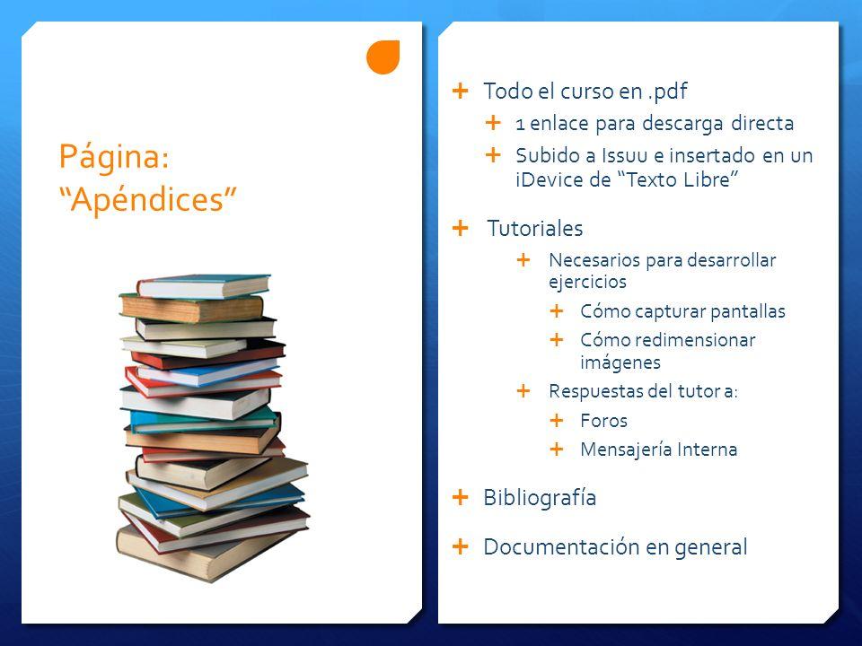 Página: Apéndices Todo el curso en .pdf Tutoriales Bibliografía