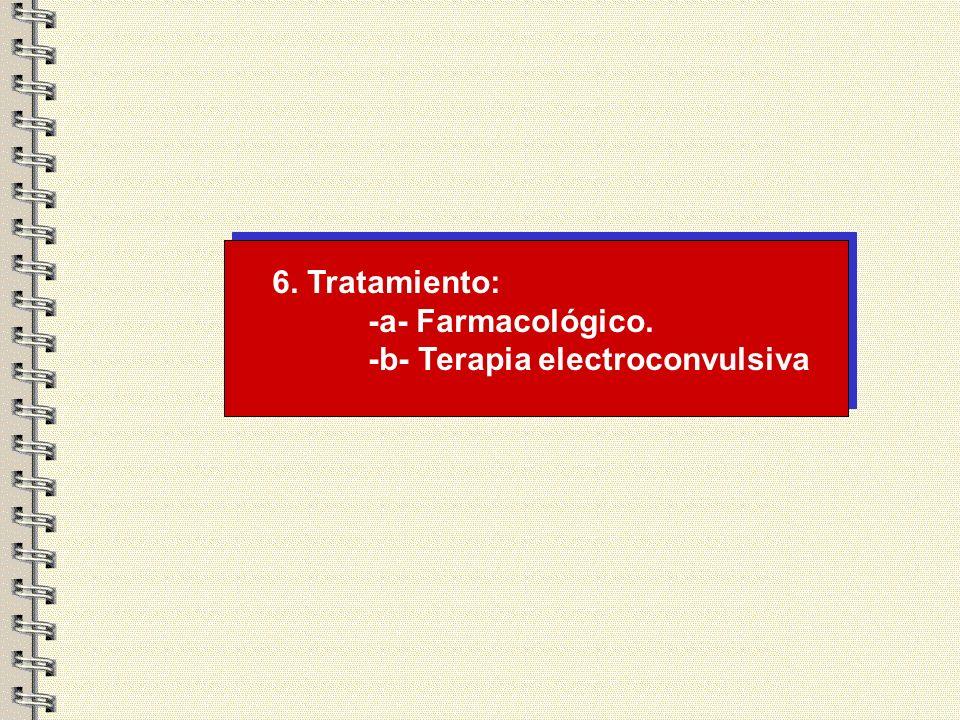6. Tratamiento: -a- Farmacológico. -b- Terapia electroconvulsiva
