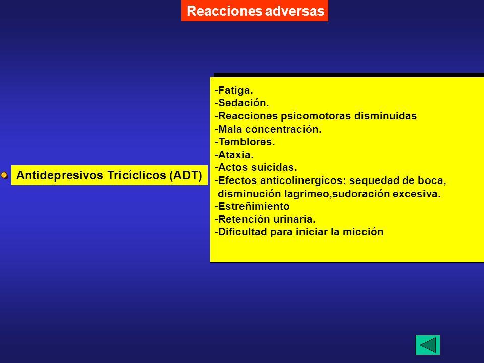 Reacciones adversas Antidepresivos Tricíclicos (ADT) Fatiga. Sedación.