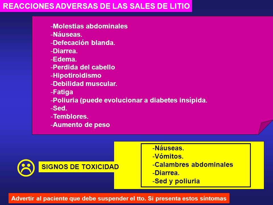  REACCIONES ADVERSAS DE LAS SALES DE LITIO Molestias abdominales