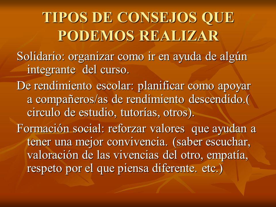 TIPOS DE CONSEJOS QUE PODEMOS REALIZAR