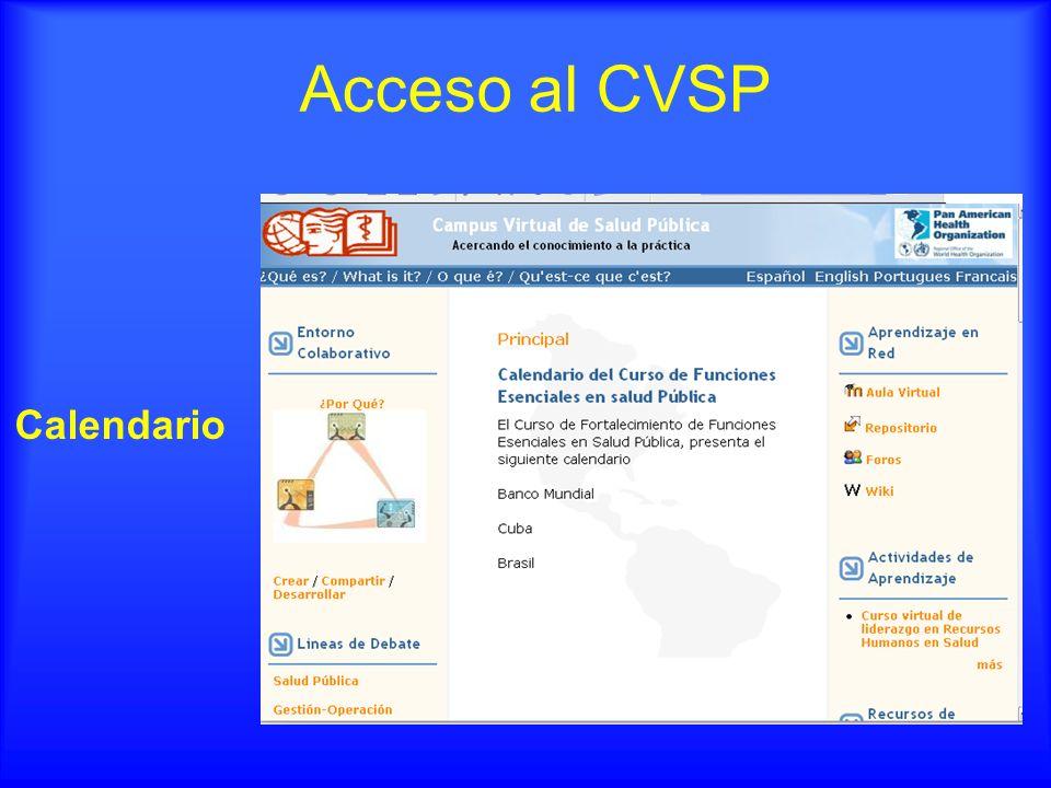 Acceso al CVSP Calendario