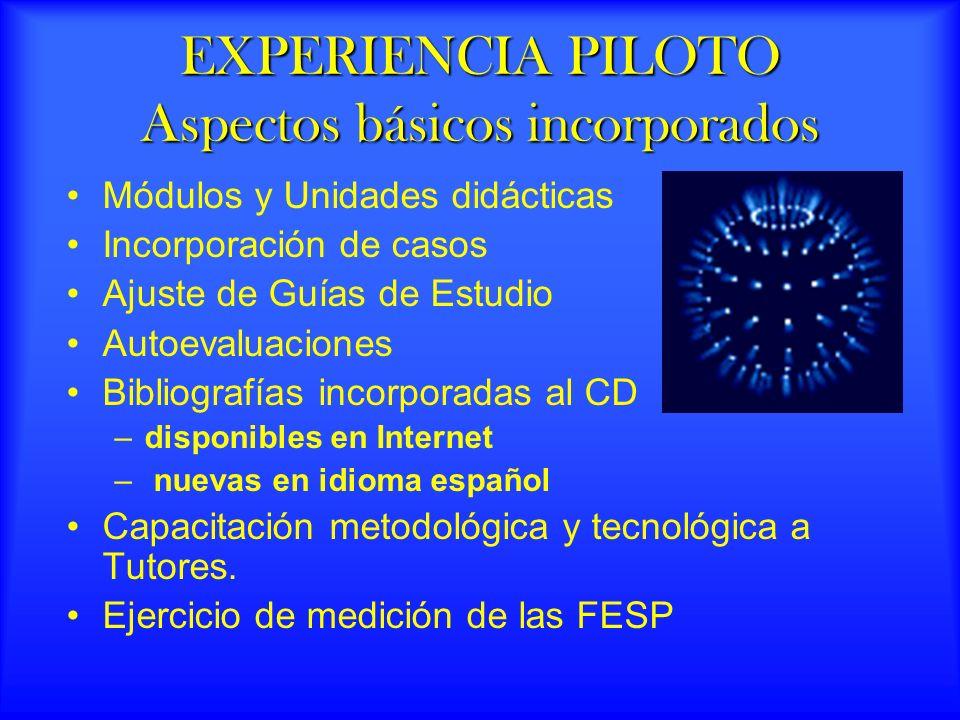 EXPERIENCIA PILOTO Aspectos básicos incorporados