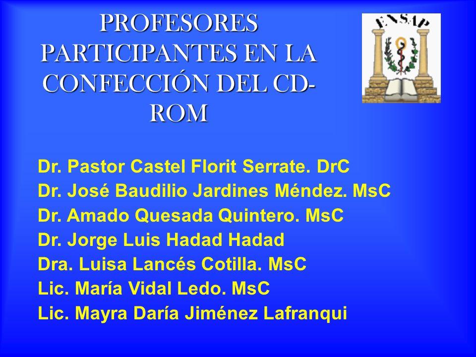 PROFESORES PARTICIPANTES EN LA CONFECCIÓN DEL CD-ROM