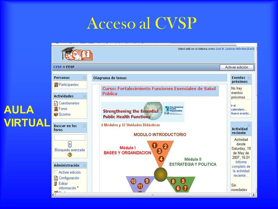 Acceso al CVSP AULA VIRTUAL