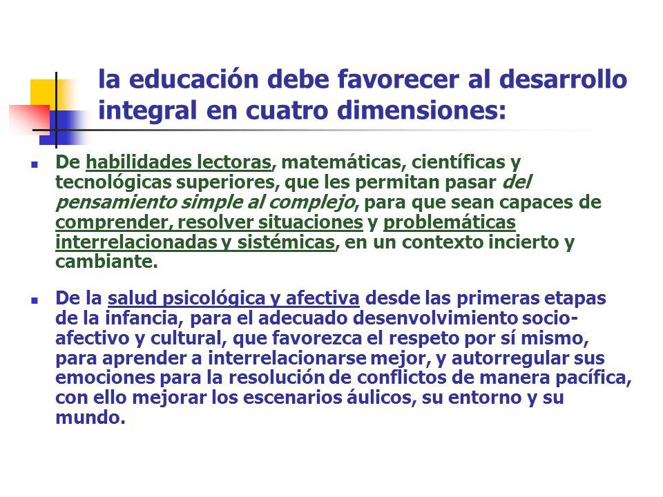 la educación debe favorecer al desarrollo integral en cuatro dimensiones: