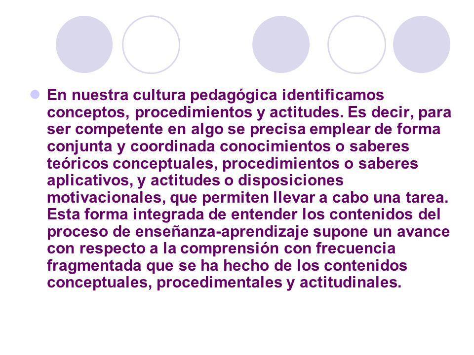En nuestra cultura pedagógica identificamos conceptos, procedimientos y actitudes.