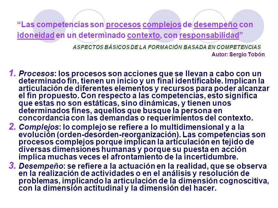 Las competencias son procesos complejos de desempeño con idoneidad en un determinado contexto, con responsabilidad ASPECTOS BÁSICOS DE LA FORMACIÓN BASADA EN COMPETENCIAS Autor: Sergio Tobón