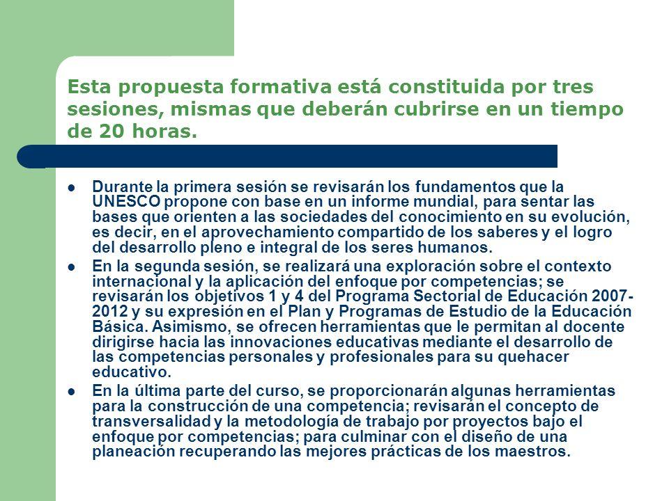 Esta propuesta formativa está constituida por tres sesiones, mismas que deberán cubrirse en un tiempo de 20 horas.