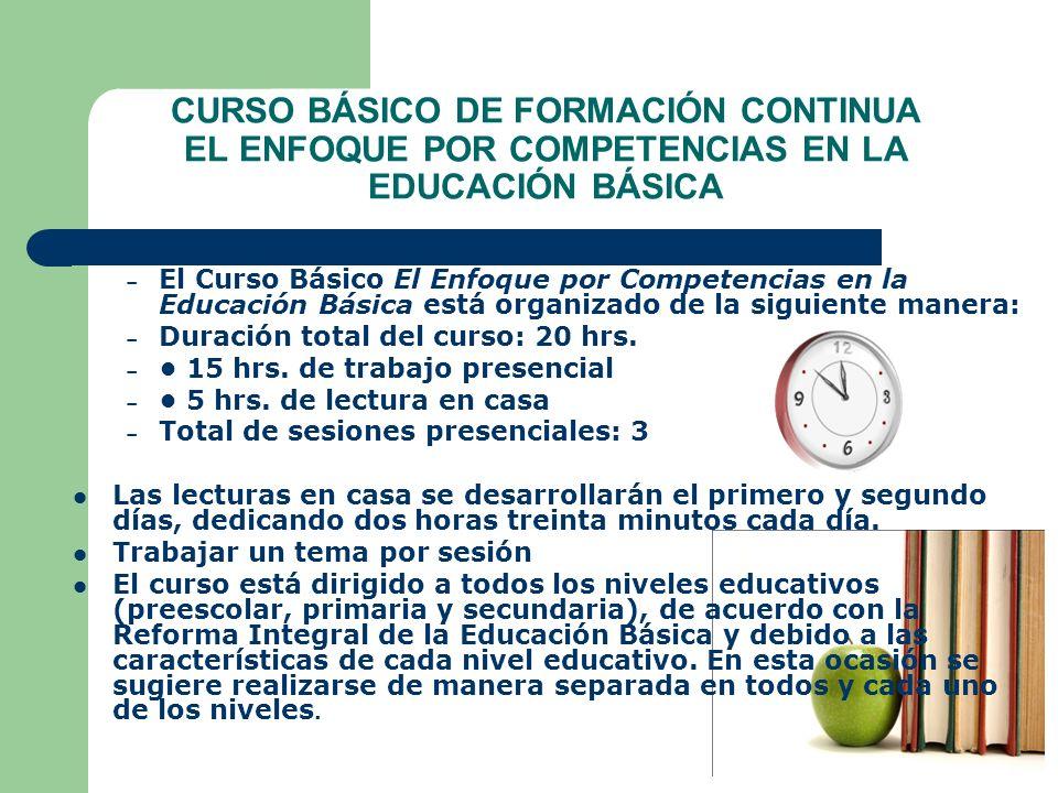 CURSO BÁSICO DE FORMACIÓN CONTINUA EL ENFOQUE POR COMPETENCIAS EN LA EDUCACIÓN BÁSICA