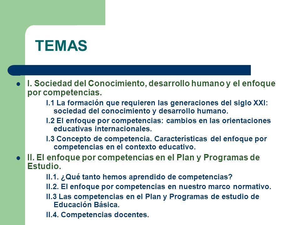 TEMAS I. Sociedad del Conocimiento, desarrollo humano y el enfoque por competencias.