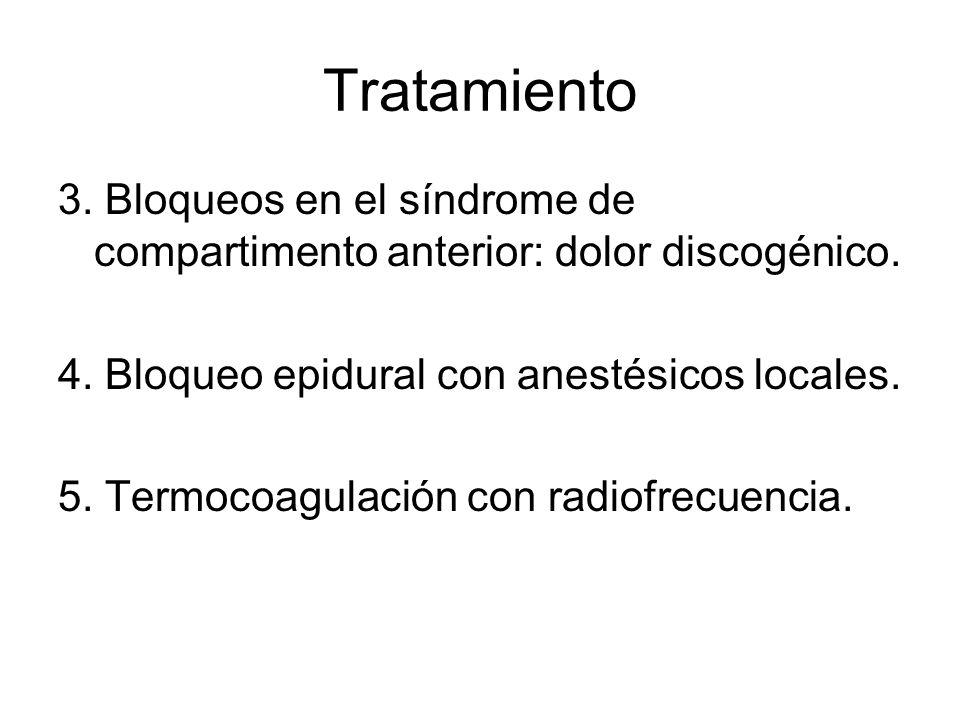 Tratamiento 3. Bloqueos en el síndrome de compartimento anterior: dolor discogénico. 4. Bloqueo epidural con anestésicos locales.