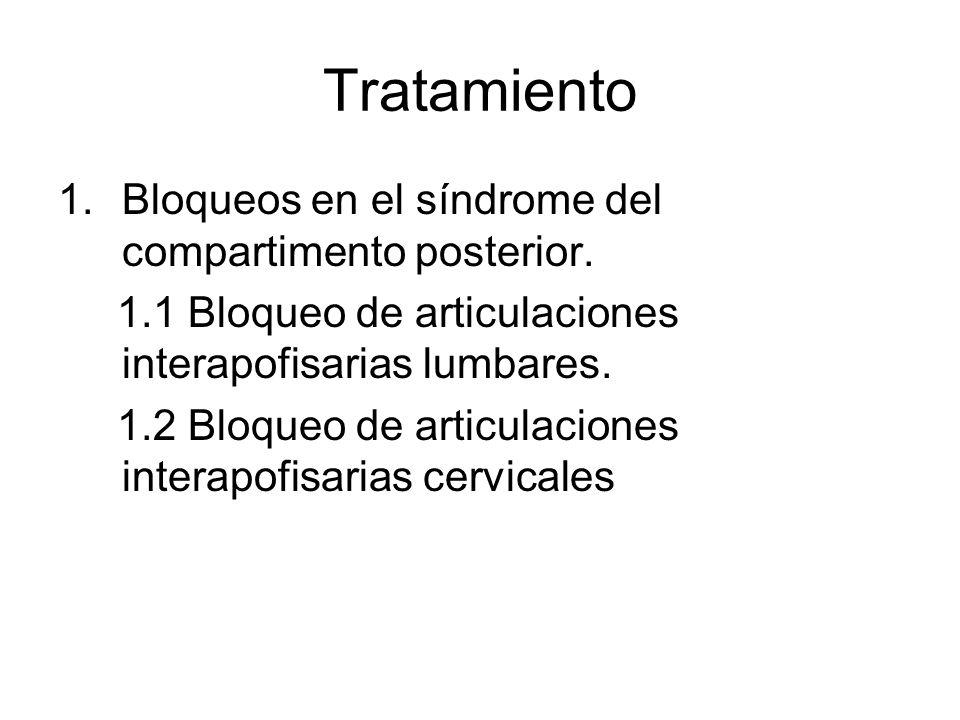 Tratamiento Bloqueos en el síndrome del compartimento posterior.