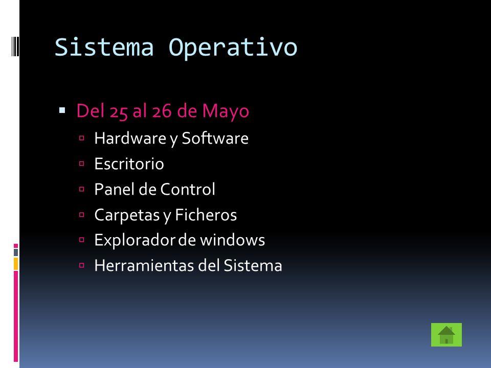 Sistema Operativo Del 25 al 26 de Mayo Hardware y Software Escritorio