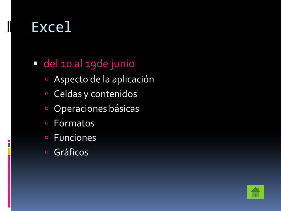 Excel del 10 al 19de junio Aspecto de la aplicación