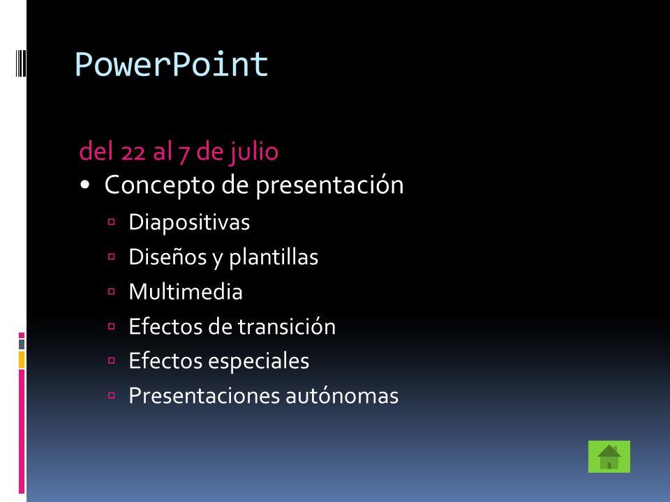 PowerPoint del 22 al 7 de julio Concepto de presentación Diapositivas